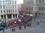 Demonstrators marching in front of the Vienna State Opera